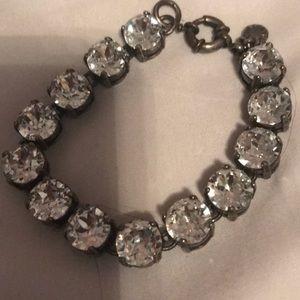 J Crew rhinestone and silver bracelet- stunning
